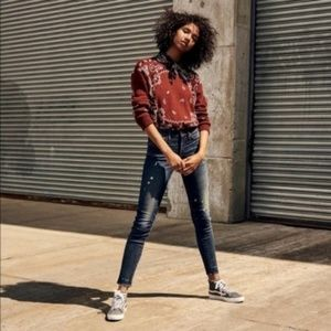 Madewell Bandana Pullover Sweater Medium NWOT